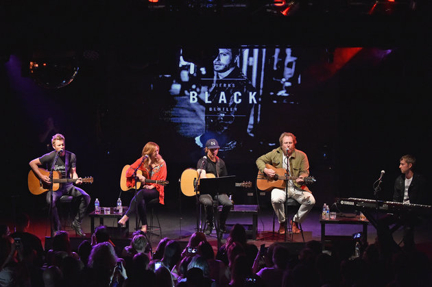 NEW YORK, NY - MAY 25:  (EXCLUSIVE COVERAGE)  (L-R) Dierks Bentley; Jessi Alexander; Ross Copperman, Luke Dick, and Ashley Gorley perform Last Call Ball: Songs From The Black Album at Highline Ballroom on May 25, 2016 in New York City.  (Photo by Mike Coppola/Getty Images)